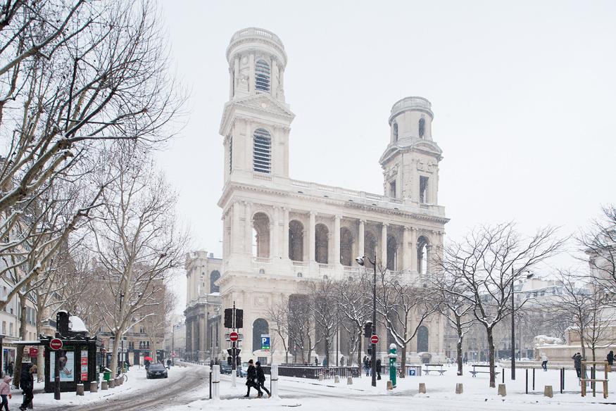 Paris sous la neige, 2013. L'église Saint-Sulpice.
